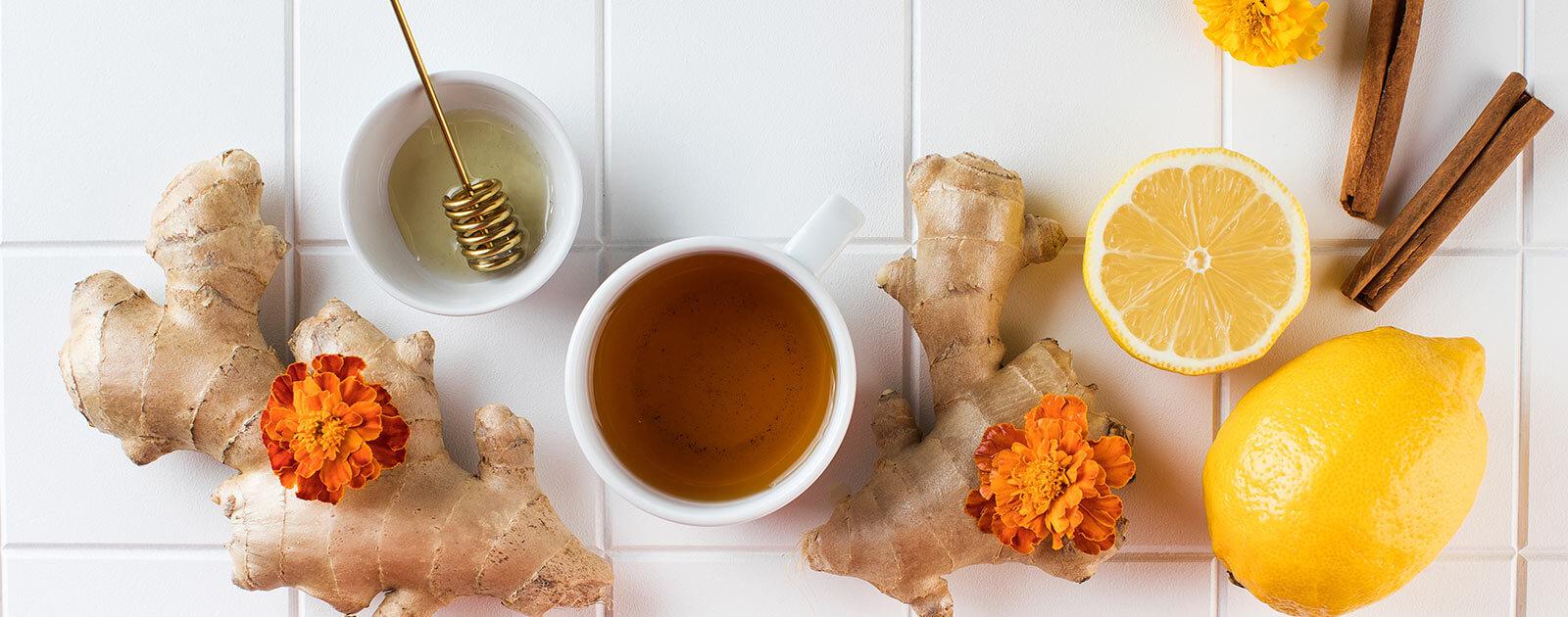 thé au citron avec gingembre et miel